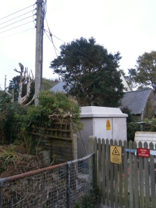 An electricity substation lurking furtively on a Mousehole corner